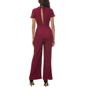 Sexy Lace Backless Pure Color Round Collar Jumpsuit - lolabuy
