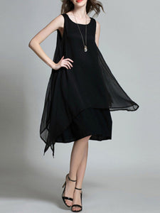 Round Neck  Plain Shift Dress - lolabuy