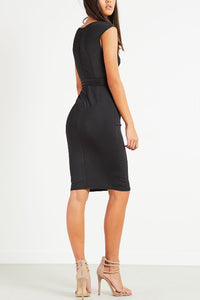 Surplice  Backless  Belt  Plain  Sleeveless Bodycon Dresses - lolabuy
