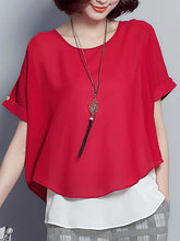 Spring Summer  Polyester  Women  Round Neck  Asymmetric Hem  Fake Two-Piece  Plain Blouses - lolabuy