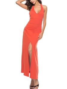 V-Neck  High Slit  Plain Maxi Dress - lolabuy