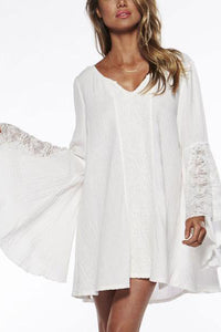 Loose V Collar Pagoda Sleeve Shift Dress - lolabuy