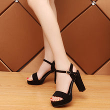 Fashion Pure Color Buckle Thick Heel Sandals - lolabuy