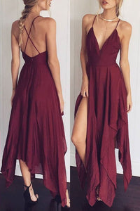 Sexy V Collar Backless Sleeveless Chiffon Asymmetrical Dress - lolabuy