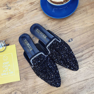 Fashion Rhinestone Sequins Pointed Mueller Shoes - lolabuy