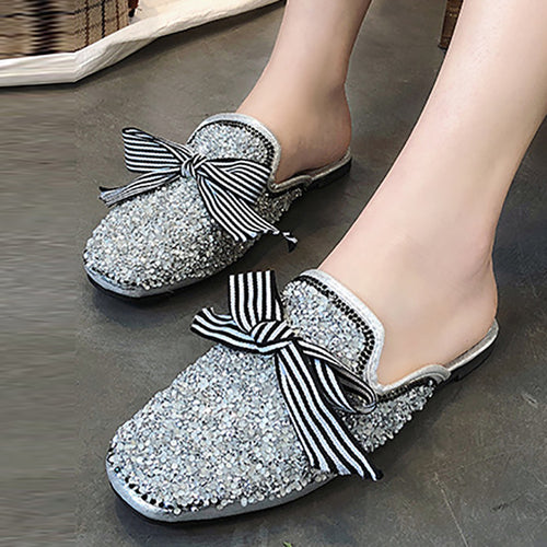 Fashion Hot Drilling Square Head Mueller Shoes