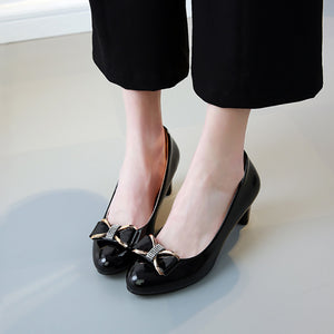 Elegant Pure Color Thick Heel Shoes With Bow-Knot - lolabuy