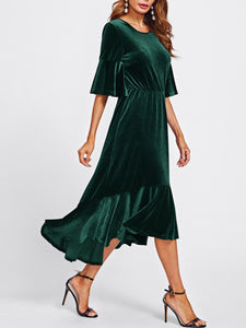 Round Neck  Elastic Waist  Plain Maxi Dress - lolabuy