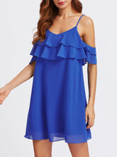 Spaghetti Strap  Cascading Ruffles  Plain Shift Dress - lolabuy