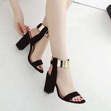Fashion Suede Thick Heel Sandals - lolabuy
