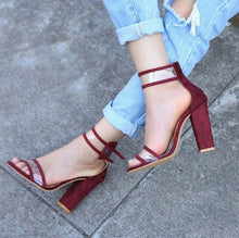 Fashion Pure Color Thick Heel Buckle Sandals - lolabuy