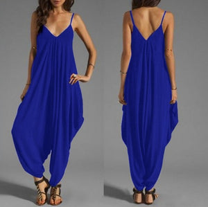Low-Cut V Collar Beach Casual Loose Jumpsuit - lolabuy