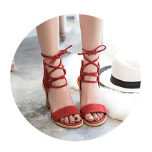 Fashion Pure Color Cross Belt Thick Heel Sandals - lolabuy