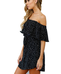 Sexy Off Shoulder Spot Defined Waist Skater Dress - lolabuy