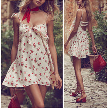 Cherry Printed Sling Backless Beach Dress - lolabuy