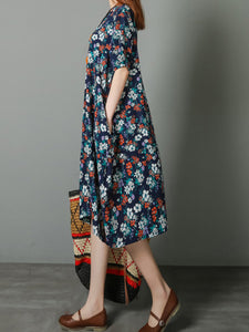 Round Neck  Printed Shift Dress - lolabuy