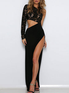 Sexy Lace Split Joint Sloping Shoulder Asymmetrical  Evening Dress