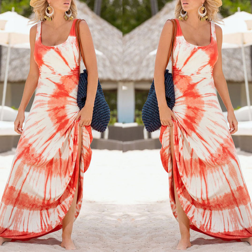 Sexy Round Collar Floral Printed Maxi Dress - lolabuy