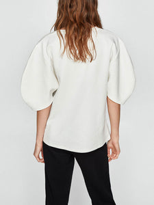 Fashion Puff Sleeve Half Sleeve Round Shirt - lolabuy