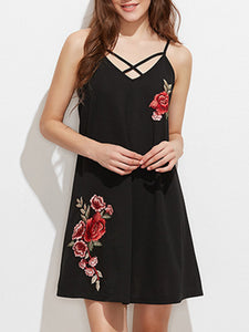 Spaghetti Strap  Applique Shift Dress - lolabuy