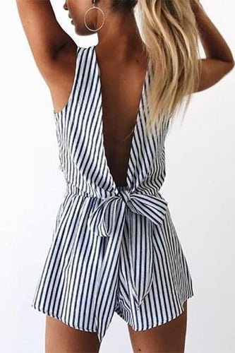 Deep V - Back Striped Jumpsuit - lolabuy