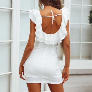 Sexy U Collar Backless Flounce Bodycon Dress - lolabuy