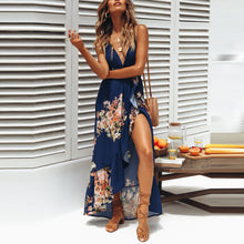 Bohemian Deep V Collar Sleeveless Backless Printing Vacation Dress - lolabuy