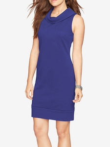Fold-Over Collar  Plain Bodycon Dress - lolabuy