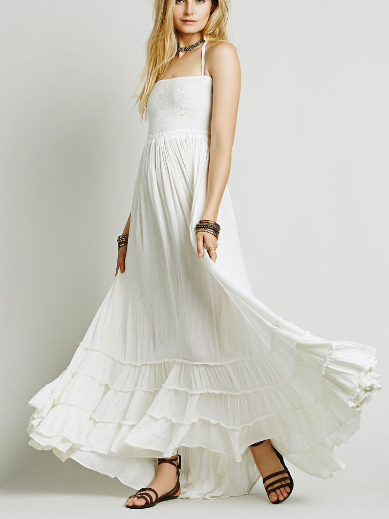 Backless Cotton Bohemia Maxi Dress