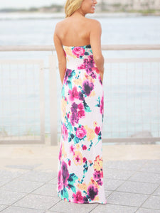 Sexy Off Shoulder Backless Floral Printed Pocket Maxi Dress - lolabuy