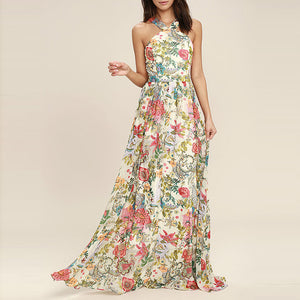 Bohemian Sexy Strap Backless Printing Evening Dress - lolabuy