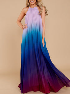 Crew Neck  Gradient Maxi Dress - lolabuy