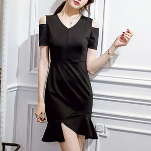 Elegant V Collar Pure Color Slim Work Dress - lolabuy