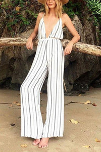 Sexy Elegant Striped Sleeveless Jumpsuit - lolabuy