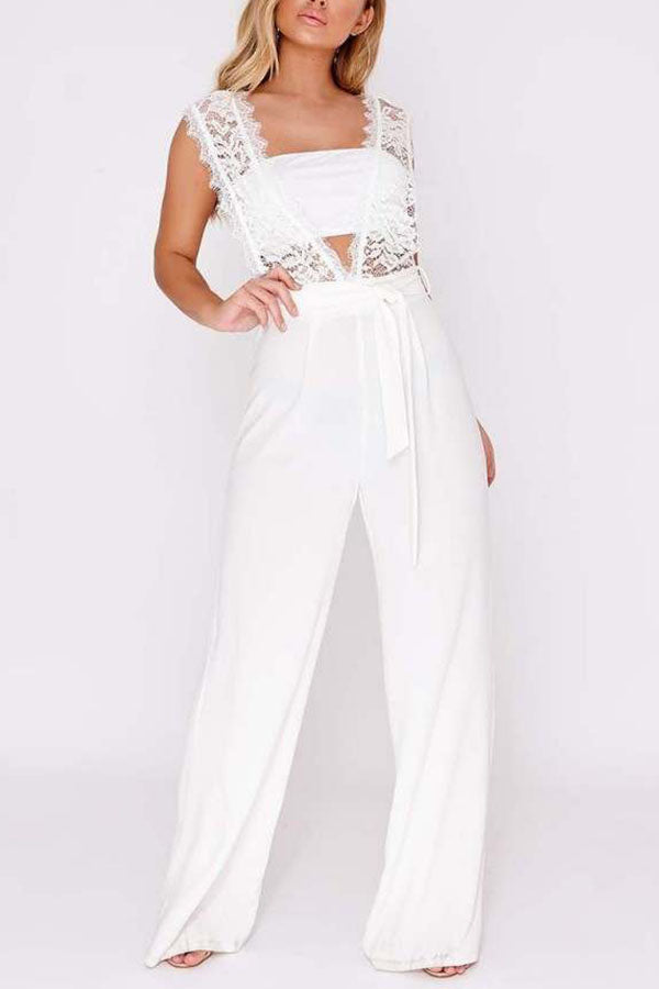 Elegant Sexy Deep V Lace Sleeveless Jumpsuit