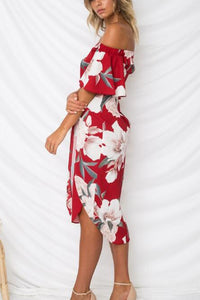 Sexy Off Shoulder Floral Print Vacation Mini Dress - lolabuy