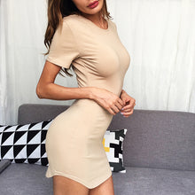 Elegant Round Collar Pure Color Ruffled Package Hip Work Dress - lolabuy
