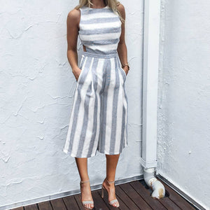 Fashion Casual Stripe Sleeveless Jumpsuit - lolabuy