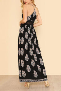 Elegant Sexy Floral Print Vacation Maxi Dress - lolabuy