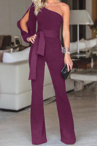 Stylish One Shoulder Slit Sleeve Black Jumpsuit - lolabuy