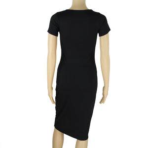 Round Collar Short-Sleeved Cotton Bodycon Dress - lolabuy