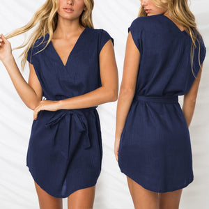 Loose V-Neck Cotton Short Dress - lolabuy