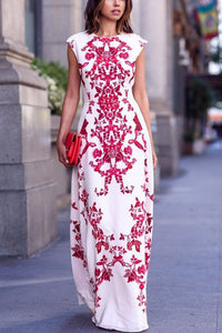 Bohemia Floral Print Sleeveless Maxi Dress - lolabuy