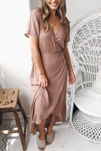 Surplice  Asymmetric Hem  Plain  Short Sleeve Maxi Dresses - lolabuy
