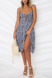 Spaghetti Strap  Bowknot Single Breasted  Dot  Sleeveless Maxi Dresses - lolabuy