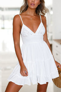 Spaghetti Strap  Backless Bowknot  Plain  Sleeveless Skater Dresses - lolabuy