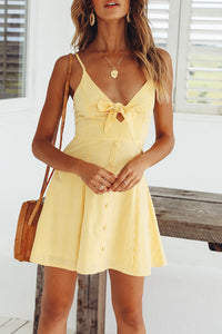 Spaghetti Strap  Bowknot Single Breasted  Sleeveless Skater Dresses - lolabuy