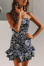 Spaghetti Strap  Backless Bowknot  Floral Printed  Sleeveless Bodycon Dresses - lolabuy