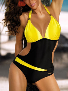 Colorblock One-Piece Swimwear - lolabuy
