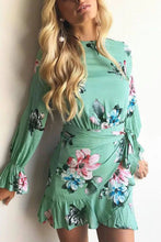 Stylish Floral Print Lace-Up Long Sleeves Mini Dress - lolabuy
